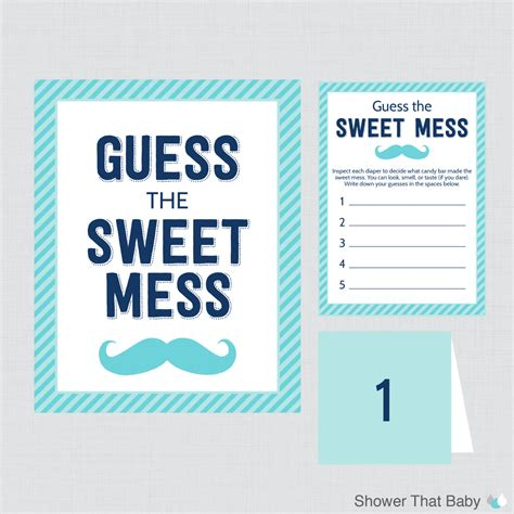 mustache baby shower diaper candy bar game printable guess