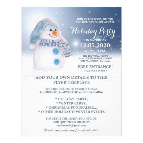 Snowman Flyer Template Winter And Holiday Party Zazzle Winter Flyer Template