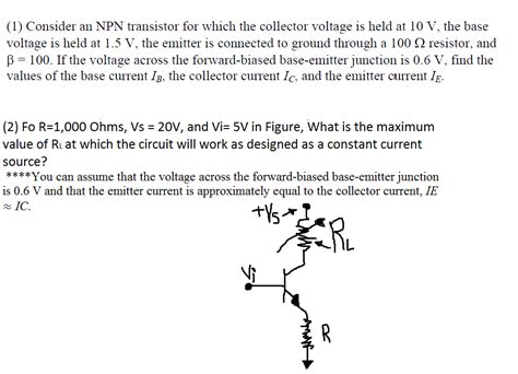 npn transistor questions 1 consider an npn transistor for which the colle chegg
