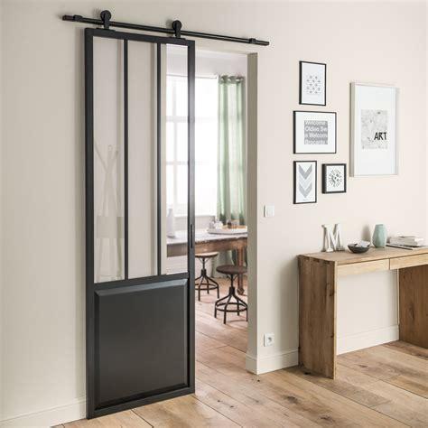 Délicieux Cloison Vitree Interieure Leroy Merlin #3: ensemble-porte-coulissante-atelier-mdf-revetu-avec-le-rail-bolero-noir.jpg