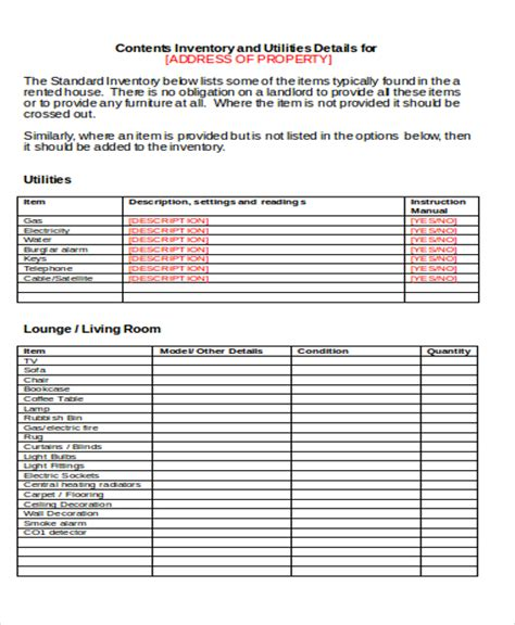 landlord inventory template unfurnished image collections