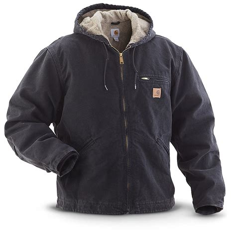 carhartt coat carhartt hooded sandstone jacket 215190 insulated jackets coats at