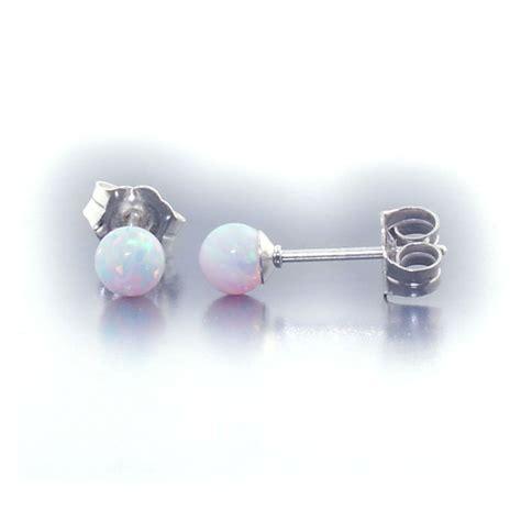 8mm australian fiery white opal stud post earrings lorraine 4mm australian fiery white opal stud post