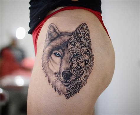wolf face tattoo designs wolf portrait half mandala best design ideas