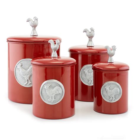 old dutch international 570 rooster canisters set of 4 old dutch international 1743 red rooster canisters with