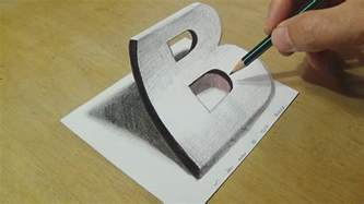 How To Make 3d Letters With Paper - drawing 3d letter b trick on paper with graphite