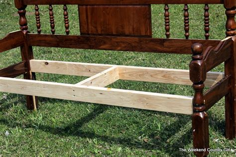 bed into bench turning a headboard into a bench the weekend country