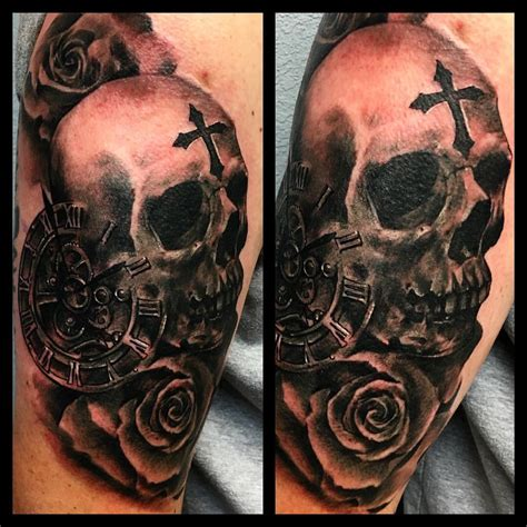 skull cross tattoos roses and skull with cross and time tattoos