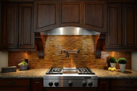 copper tile backsplash kitchen backsplash copper tiles pot filler