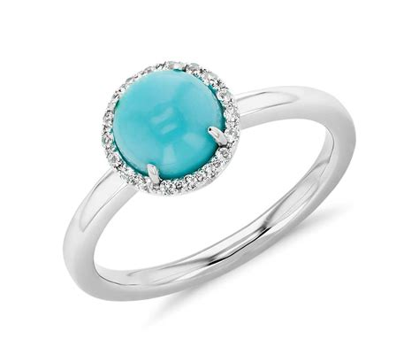 turquoise and white topaz halo button ring in 14k