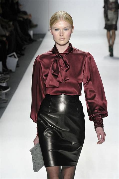 leather skirt satin blouse fashion leather and satin