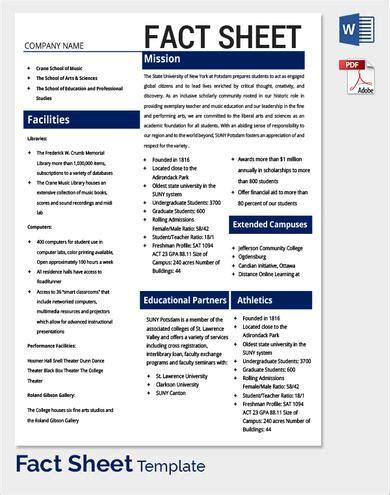 Fact Sheet Template Madinbelgrade Free Fact Sheet Template