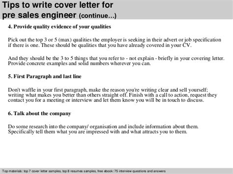 sales engineer cover letter pre sales engineer cover letter
