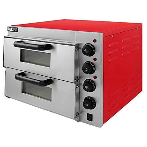 Electric Pizza Oven with Audible Timer & Twin Deck