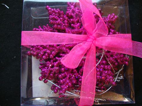 6 x bright pink snowflake glitter christmas tree hanging