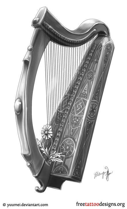 harp tattoo designs harp design beautiful