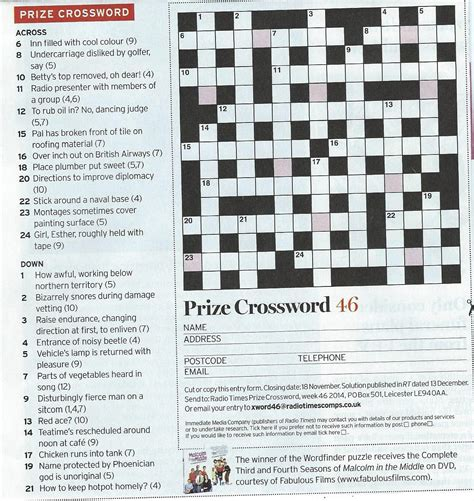 usa today crossword submission radio times 46 by chrise