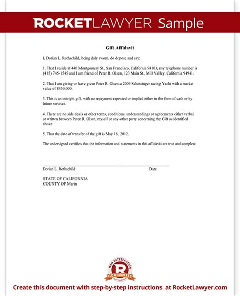 Gift Agreement Letter Gift Affidavit Form Affidavit Of Gift Template With Sle