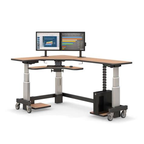Corner Desk Monitor Stand Corner Standing Desk With Two Monitor Arm Stands Afcindustries