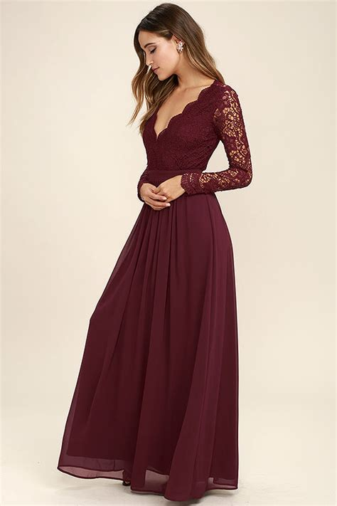 Maxi Maron lovely burgundy dress maxi dress lace dress sleeve dress 84 00