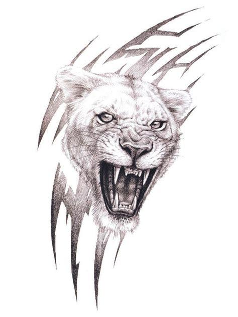 lioness tribal tattoo roaring lioness ideas tattoos tiger