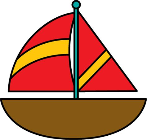 cartoon red boat brown sailboat clip art brown sailboat image