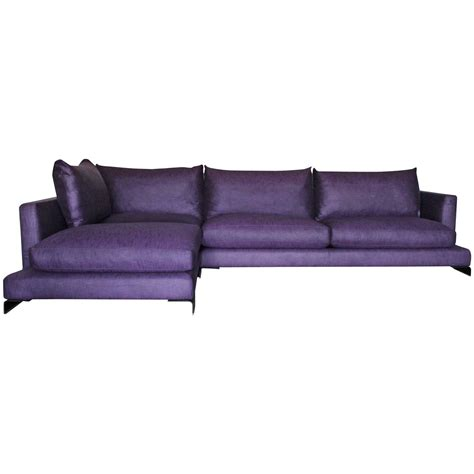 long l shaped sofa flexform quot long island quot l shape sofa in purple and black