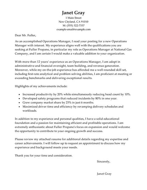 operations assistant cover letter best operations manager cover letter exles livecareer