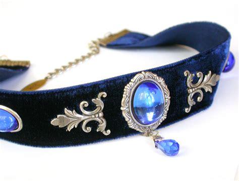 Blue Choker blue velvet choker sapphire glass