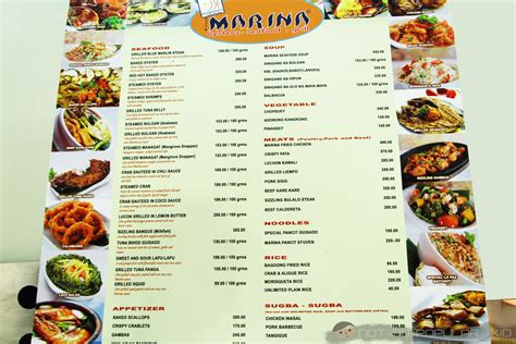 seafood restaurant menu marina seafood restaurant in robinson s place ermita a