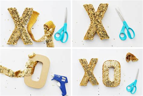 diy diy sequin xoxo letters