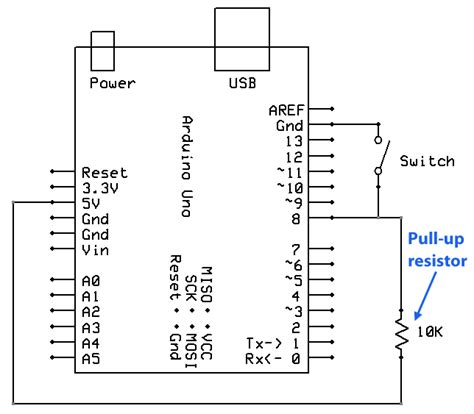 pull up resistor voltage arduino uno understanding flow of current with pull up and pull circuits arduino stack