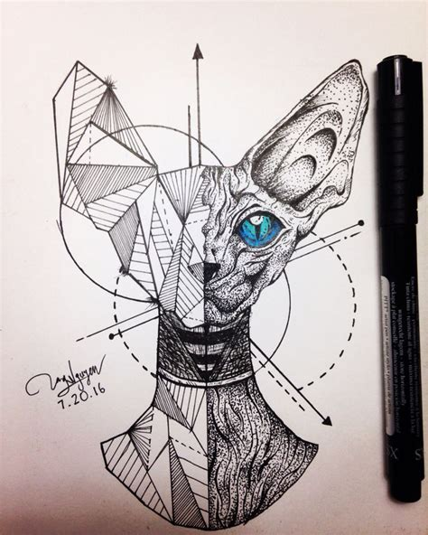 nice geometric tattoo cat geometric sphinx check more