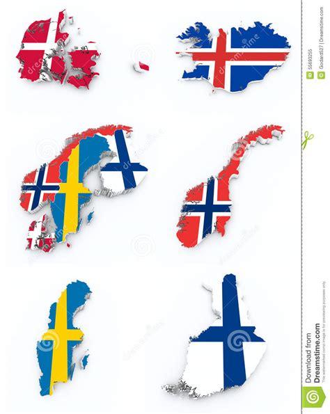 3d Aufkleber Norwegen by Skandinavische Flaggen Auf Karte 3d Stock Abbildung Bild