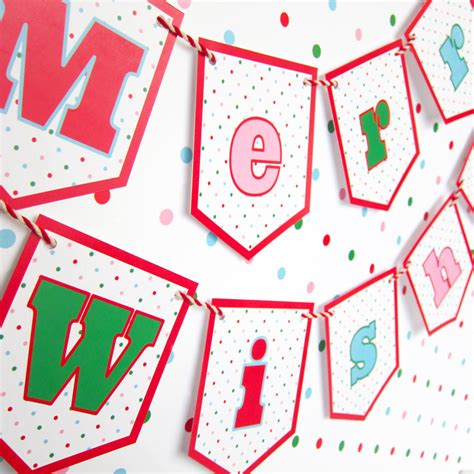 merry wishes banner garland printable paper christmas