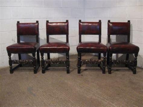 Set Four Antique Victorian Jacobean Oak Leather Dining Antique Leather Dining Chairs