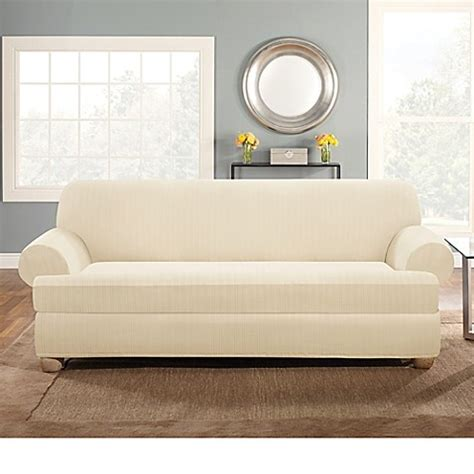 Slipcover T Cushion Sofa Buy Sure Fit 174 Stretch Pinstripe 2 T Cushion Sofa