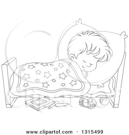 coloring page boy sleeping clipart of a cartoon black and white boy sleeping