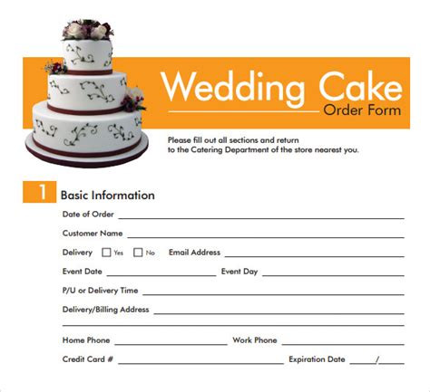 Wedding Cake Order sle cake order form template 16 free documents