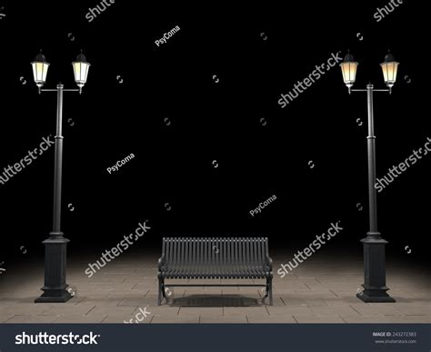 night bench night view bench street light stock illustration 243272383