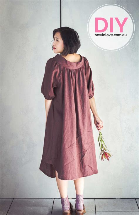 sewing pattern linen dress finished smock dress in oh so soft linen from merchant
