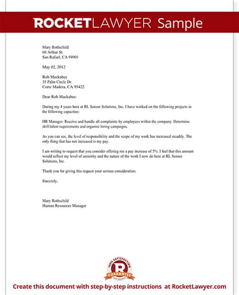 Raise Letter Request Sle Letter Asking For A Salary Increase Sle Business Letter