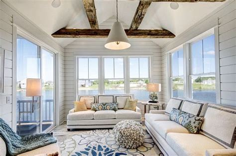 great sunroom decor furniture rug exposed beams