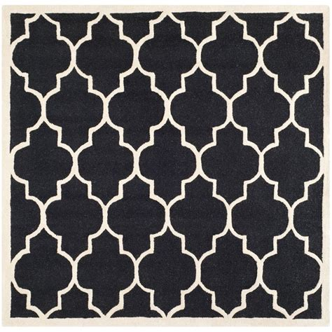 Safavieh Cambridge Black Area Rug Safavieh Cambridge Black Ivory 6 Ft X 6 Ft Square Area