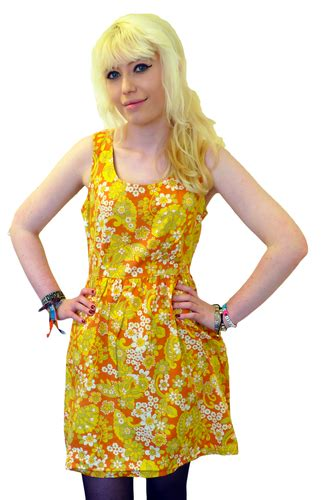 bow flower dress tulle retro sixties floral mod