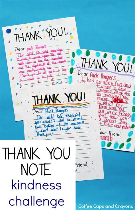 Thank You Letter Kindness Take The Thank You Note Kindness Challenge Coffee Cups And Crayons