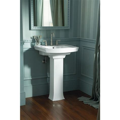 pedestal sink curtain simple bathroom with kohler archer white pedestal combo
