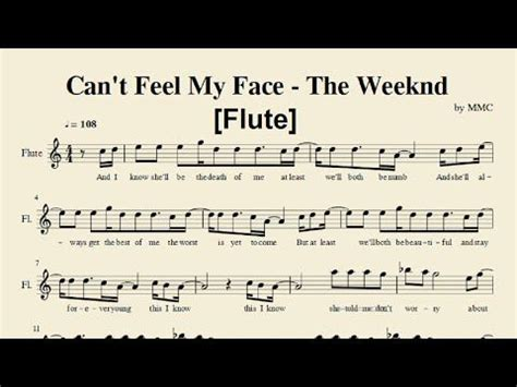 can t feel my face the weeknd can t feel my face the weeknd flute sheet music by