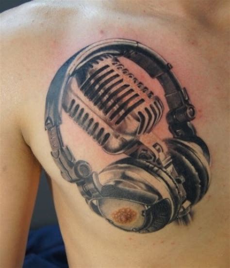 Microphone Tattoo On Chest | mic with headphones tattoos on chest tattooshunt com