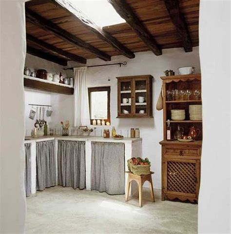 Alternative Kitchen Cabinets Cottage Kitchen In Spain Curtains Are A Cheap Alternative To Cabinets Kitchen